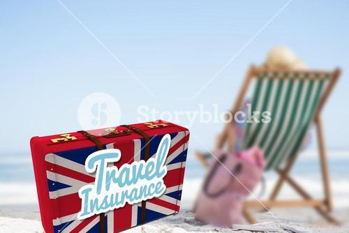 Composite image of travel insurance message on a british suitcase