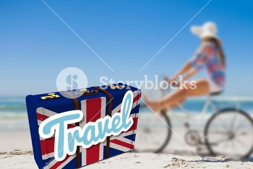 Composite image of suitcase with the british flag