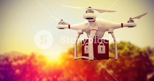 Composite image of a drone bringing a red cube