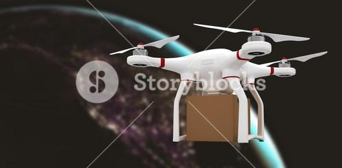 Composite image of a drone bringing a cardboard box