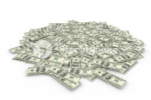 Composite image of a pile of dollars