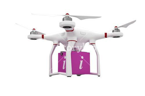 A drone bringing a pink cube