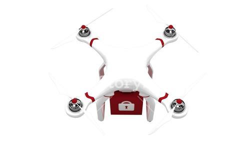 A drone bringing a red cube