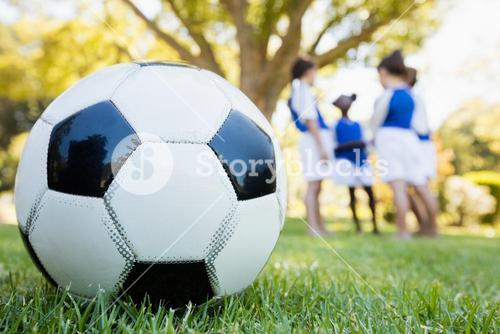 Extreme close up view of soccer balloon