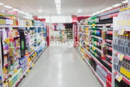 Focus on a aisle with sheleves