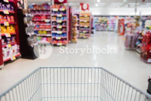 View of the supermarket from a trolley