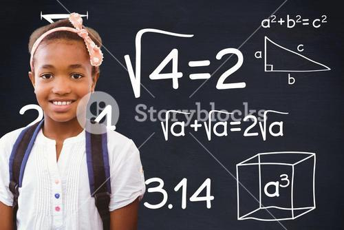 Composite image a schoolchild who is posing in front of a math board