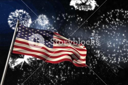 Composite image of usa flag during a firework
