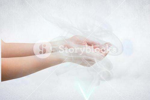 Composite image of woman holding something