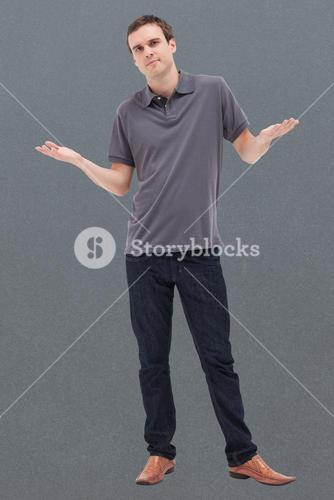 Composite image of man standing and on lack of understanding
