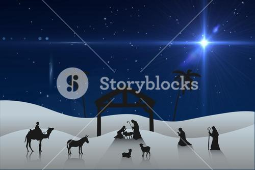 Composite image of nativity scene