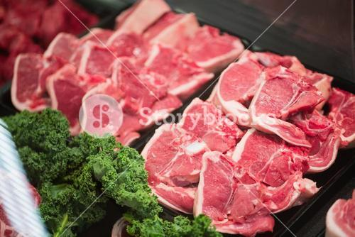 Focus on Shelves with meat
