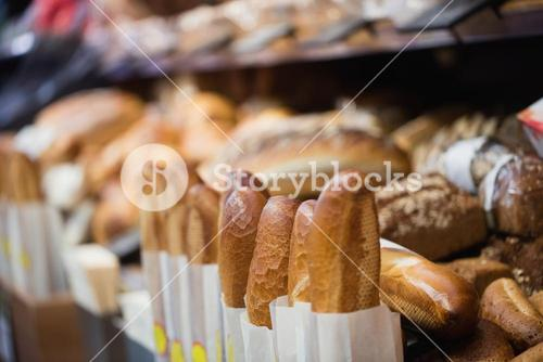 Focus on Shelves with bread