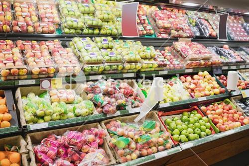 Focus on Shelves with apples