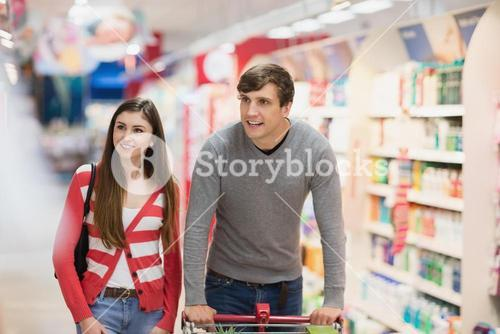 Couple doing their groceries