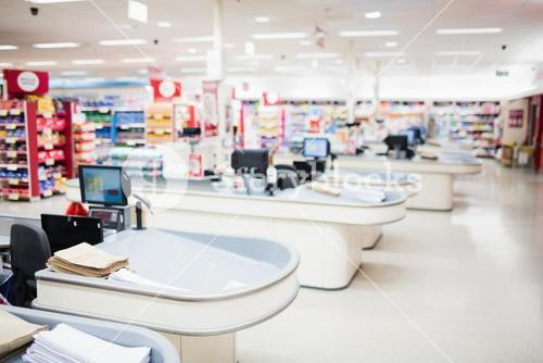 View of tills and shelves