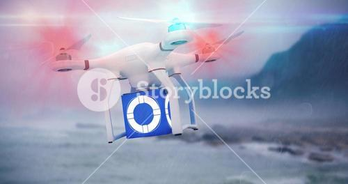 Composite image of digital image of a drone