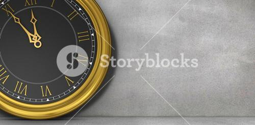Composite image of clock counting down to midnight