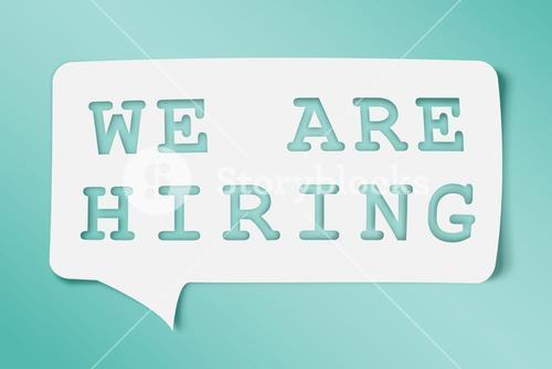 Composite image of we are hiring message