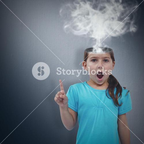 Composite image of cute girl shaking finger saying no to the camera