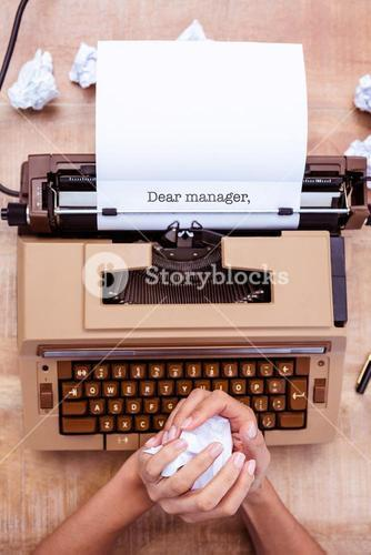 Dear manager, against above view of old typewriter