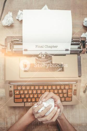 Final chapter  against above view of old typewriter