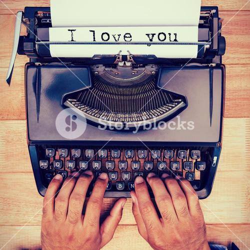 Composite image of the sentence i love you against white background
