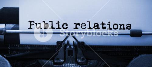 Composite image of words public relations against white background