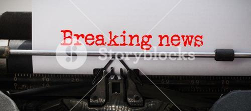 Composite image of words breaking news against white background