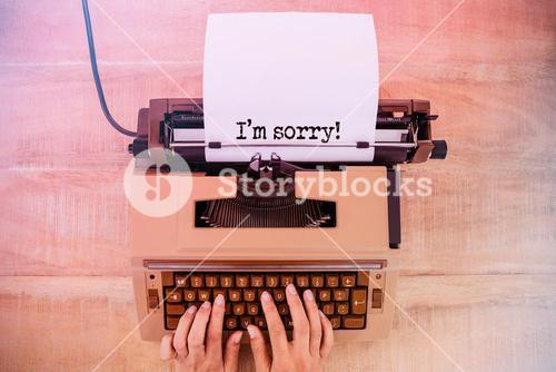 Composite image of the sentence i am sorry against white background