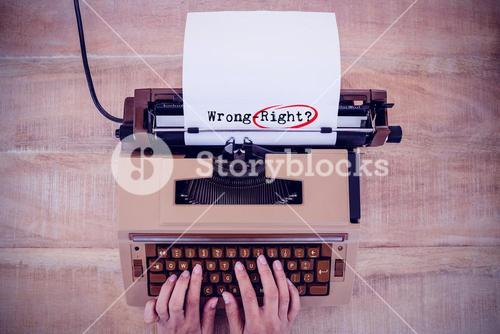Composite image of words wrong-right against white background
