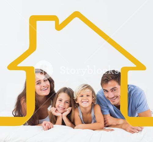 Composite image of happy family lying on a bed