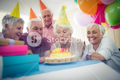 Group of seniors celebrating a birthday