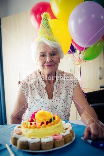 Senior woman celebrating her birthday