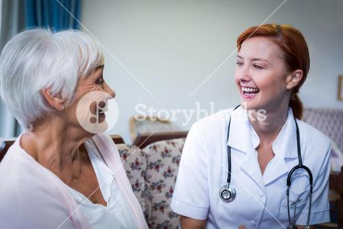 Happy doctor and patient