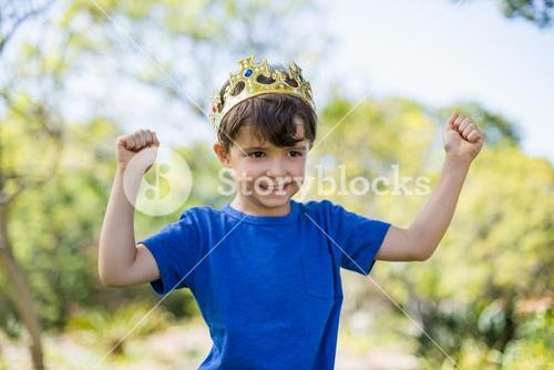 Boy clenching his fists in excitement