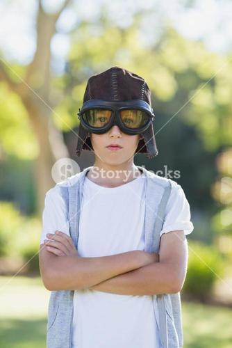 Boy pretending to be an aviation pilot