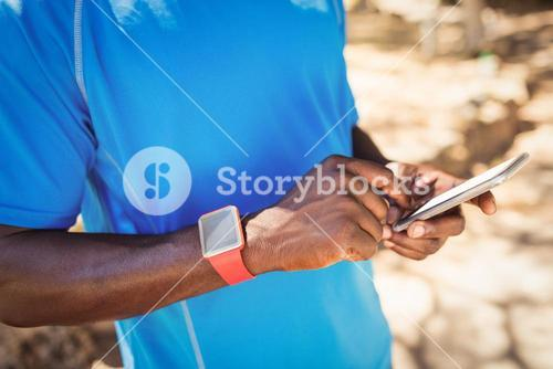 Focus on mans phone with hands