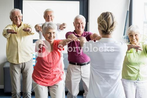 Seniors doing exercises