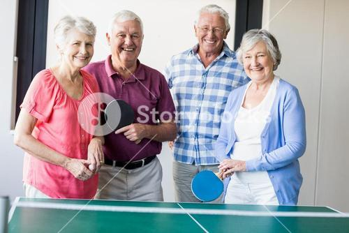 Seniors playing ping-pong