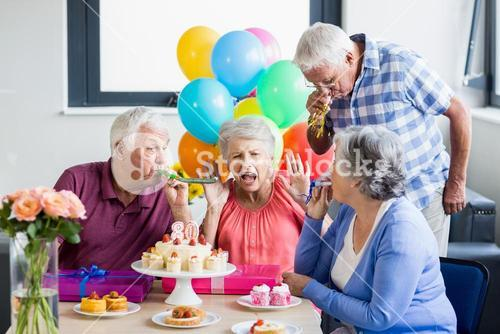 Seniors celebrating a birthday