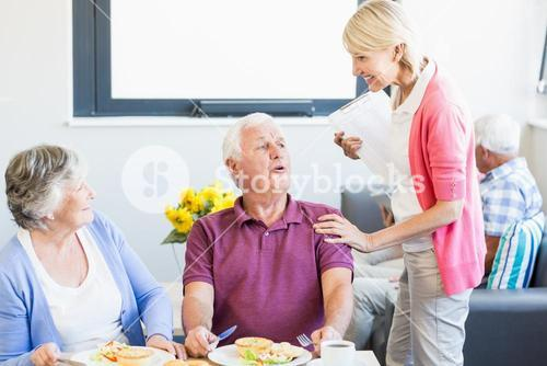 Senior couple having lunch together