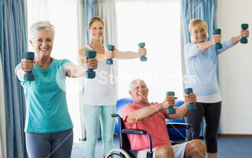 Seniors exercising with weights