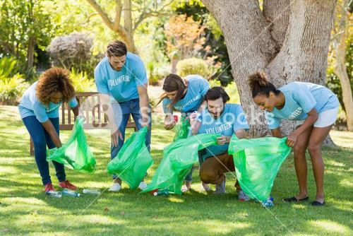 Group of volunteer collecting rubbish