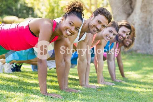 Portrait of group of friends exercising