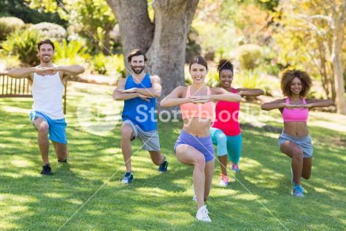 Group of friends exercising