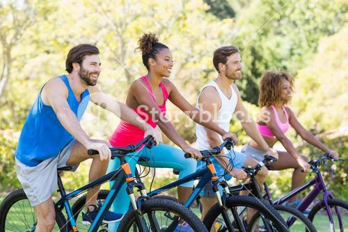 Group of friends ready for cycling