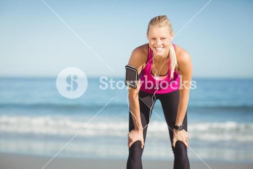 Sportswoman taking a break