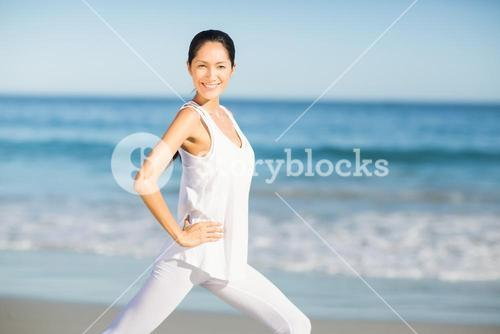 Portrait of young woman doing yoga