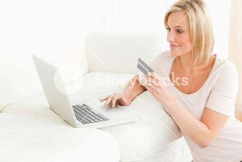 Woman booking her holidays online
